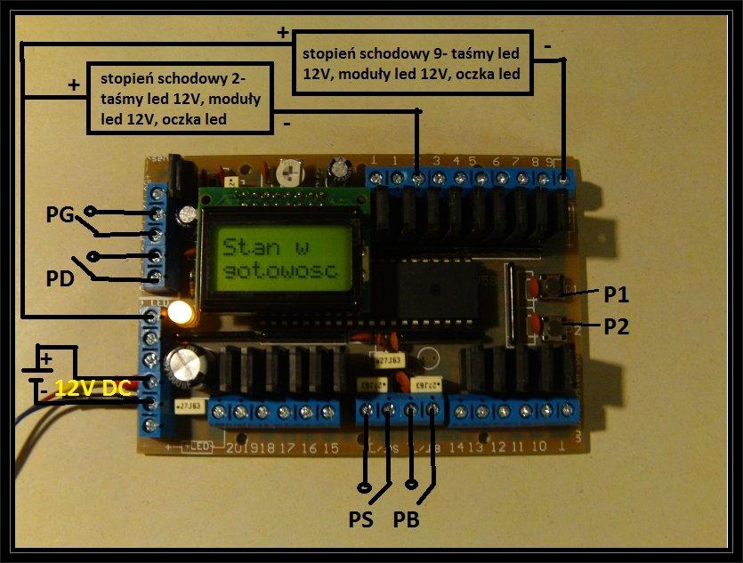 Sterownik oświetlenia schodów 11-20k LCD opis podłączania