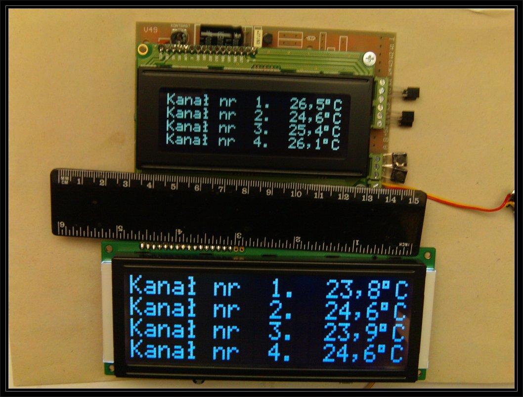 Sterownik pomiary temperatury - duży wyświetlacz LCD